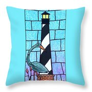 Lighthouse And Heron Throw Pillow