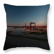 Lighthouse And Marina At Hecla In Manitoba Throw Pillow