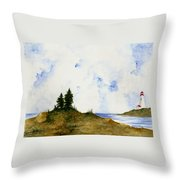 Lighthouse And Pine Trees Throw Pillow