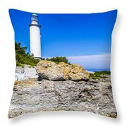 Lighthouse And Rocks Throw Pillow