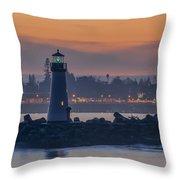 Lighthouse And Wharf At Dusk Throw Pillow