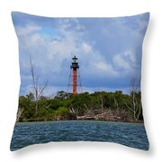 Lighthouse At Anclote Key Throw Pillow