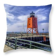Lighthouse At Charlevoix South Pier  Throw Pillow