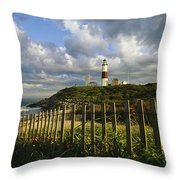 Lighthouse At Montauk With Dramatic Sky Throw Pillow by Skip Brown