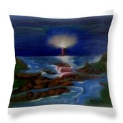 Lighthouse At Night Throw Pillow