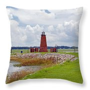 Lighthouse At Port Kissimmee On Lake Tohopekaliga In Central Florida   Throw Pillow