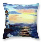 Lighthouse At Sunset Throw Pillow