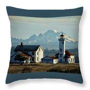 Lighthouse Before Mountain Throw Pillow