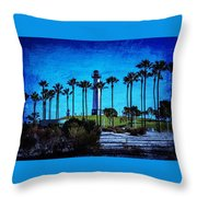 Lighthouse, Blue Lb Throw Pillow