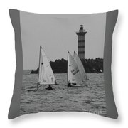 Lighthouse Boats Throw Pillow