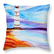 Lighthouse By The Sea Throw Pillow
