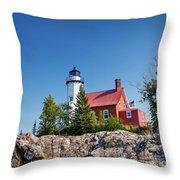 Lighthouse Eagle Harbor Lake Superior -6533 Throw Pillow