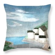 Lighthouse Harbour 2  Throw Pillow
