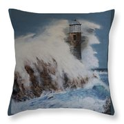 Lighthouse In A Storm Throw Pillow by David Hawkes