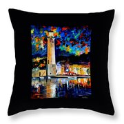 Lighthouse In Crete - Palette Knife Oil Painting On Canvas By Leonid Afremov Throw Pillow