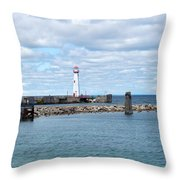 Lighthouse In Michigan Throw Pillow