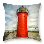 Lighthouse In South Haven Throw Pillow