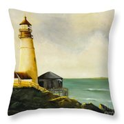 Lighthouse In Oil Throw Pillow