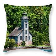 Lighthouse Munising Bay Throw Pillow