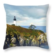 Lighthouse On A Jetty. Throw Pillow
