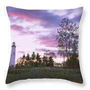 Lighthouse On A Landscape, Tawas Point Throw Pillow