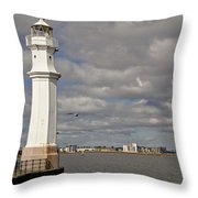 Lighthouse On A Sunny Day. Throw Pillow