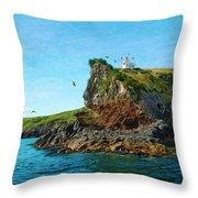 Lighthouse On Cliff Dunedin New Zealand Throw Pillow