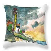 Lighthouse On The Hill Throw Pillow