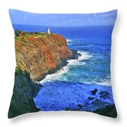 Lighthouse On The Hill Throw Pillow by Scott Mahon