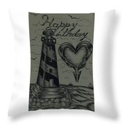 Lighthouse Out In The Sea Throw Pillow