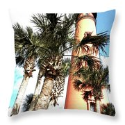 Lighthouse Palms Throw Pillow