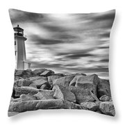 Lighthouse Peggys Cove - Black And White Throw Pillow