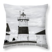 Lighthouse Point In Black And White #5 Throw Pillow
