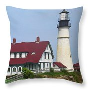 Lighthouse - Portland Head Maine Throw Pillow