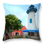 Lighthouse Seaside Cafe Throw Pillow