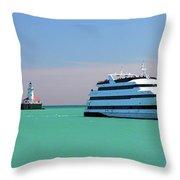 Lighthouse Ship Chicago Navy Pier Throw Pillow