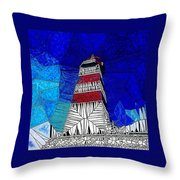 Lighthouse Stained Glass  Throw Pillow