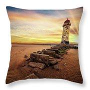 Lighthouse Sunset Wales Throw Pillow