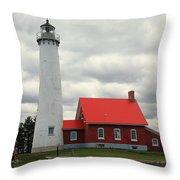 Lighthouse - Tawas Point Michigan Throw Pillow