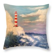 Lighthouse Under Lavender Sky Throw Pillow