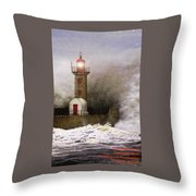 Lighthouse Weathering A Storm At Sea H A Throw Pillow