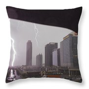 Lighting Up Atlantic Station Throw Pillow
