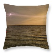 Lightning And Rainbow, Fort Myers Beach, Fl Throw Pillow