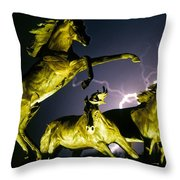 Lightning At Horse World Fine Art Print Throw Pillow