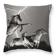 Lightning At Horse World Throw Pillow