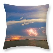 Lightning At Sunset With Star Trails Throw Pillow