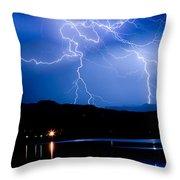 Lightning Blues Throw Pillow