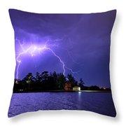 Lightning Bolt Cracks Over Lake Wendouree Throw Pillow