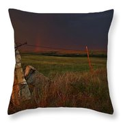 Lightning Bolt Over Post Rock Country, North Central, Kansas Throw Pillow