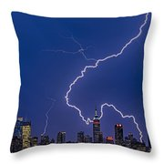 Lightning Bolts Over New York City Throw Pillow